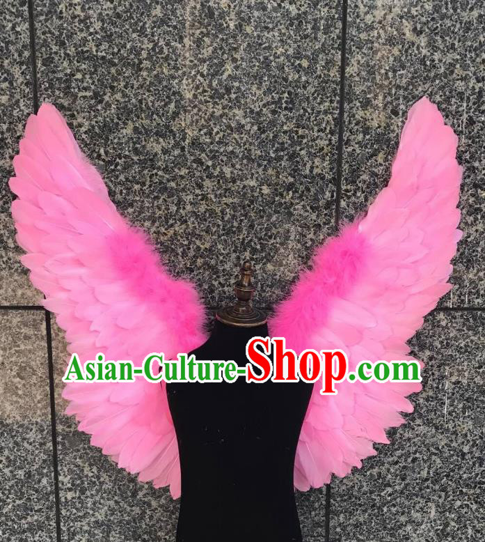 Top Grade Samba Dance Props Brazilian Carnival Catwalks Pink Feather Wings for Kids