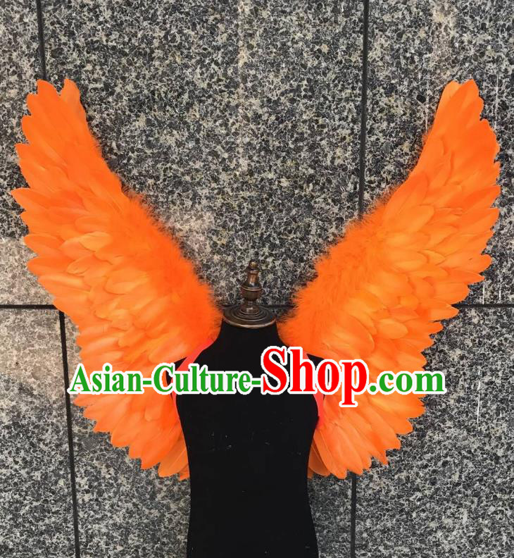 Top Grade Samba Dance Props Brazilian Carnival Catwalks Orange Feather Wings for Kids