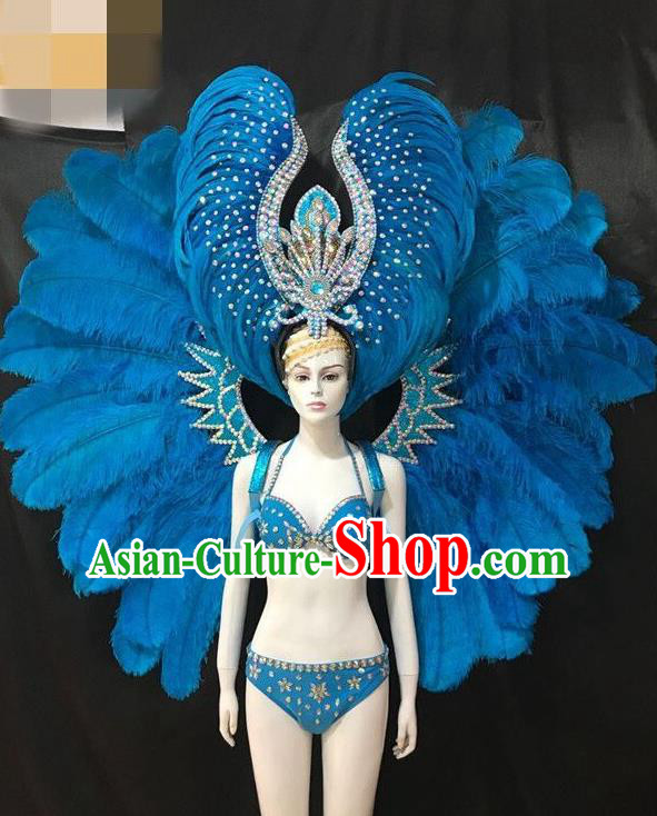 Brazilian Rio Carnival Blue Feather Costumes Halloween Catwalks Swimsuit and Deluxe Feather Wings Headwear for Women