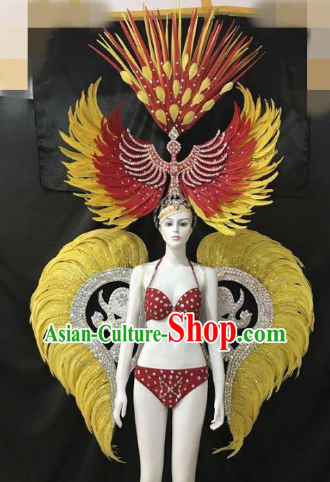 Brazilian Rio Carnival Samba Dance Costumes Halloween Catwalks Swimsuit and Deluxe Yellow Feather Wings Headwear for Women