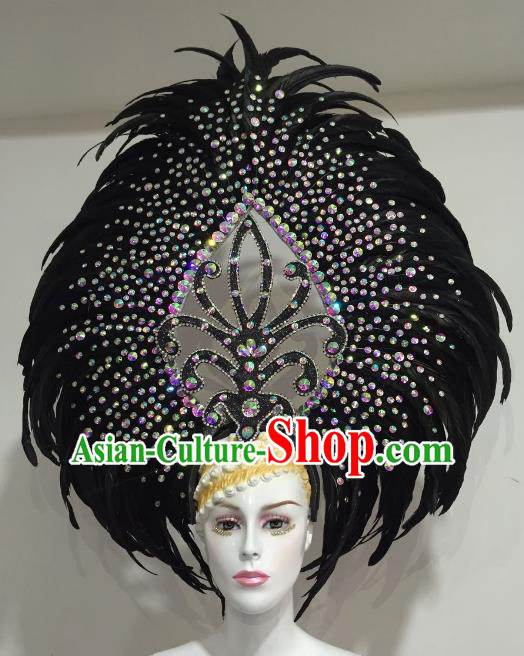 Brazilian Samba Dance Black Feather Hair Accessories Rio Carnival Catwalks Deluxe Headwear for Women