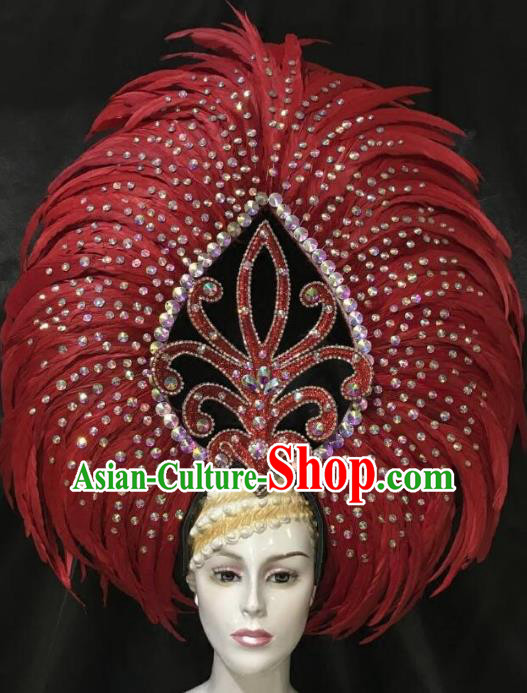 Brazilian Samba Dance Red Feather Hair Accessories Rio Carnival Catwalks Deluxe Headwear for Women
