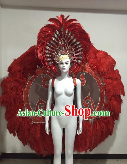 Top Grade Brazilian Samba Dance Props Rio Carnival Red Feather Angel Wings and Headwear for Women