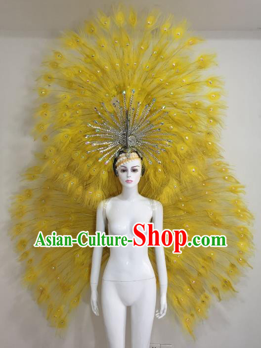 Brazilian Catwalks Samba Dance Props Rio Carnival Yellow Feather Angel Wings and Headwear for Women