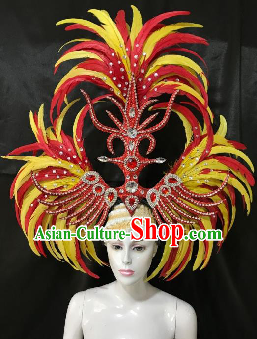Brazilian Rio Carnival Samba Dance Ostrich Feather Hair Accessories Dionysia Catwalks Headdress for Women