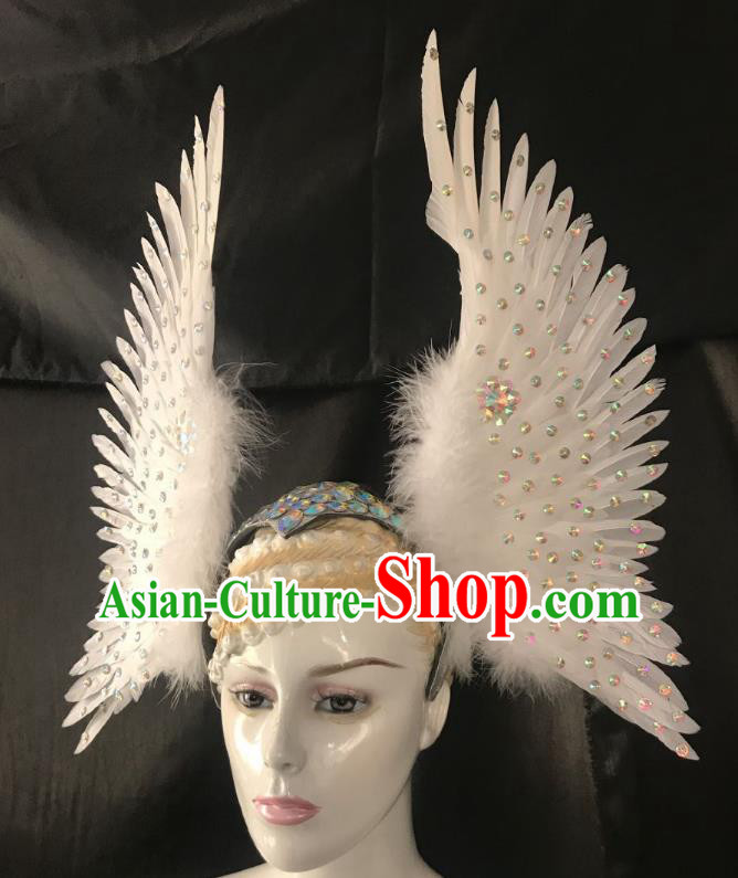 Brazilian Rio Carnival Dance White Ostrich Feather Hair Accessories Dionysia Samba Catwalks Headdress for Women