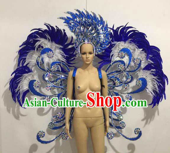 Brazilian Catwalks Samba Dance Props Rio Carnival Blue Feather Butterfly Wings and Headwear for Women