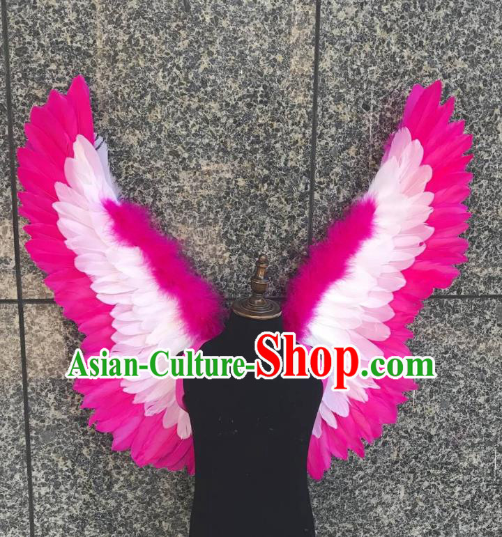 Top Grade Samba Dance Props Brazilian Carnival Catwalks Rosy Feather Wings for Kids