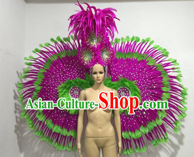 Brazilian Catwalks Props Rio Carnival Samba Dance Rosy Feather Wings and Headwear for Women