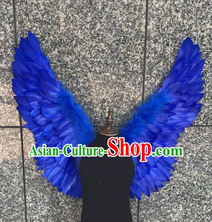 Top Grade Samba Dance Props Brazilian Carnival Catwalks Royalblue Feather Wings for Kids