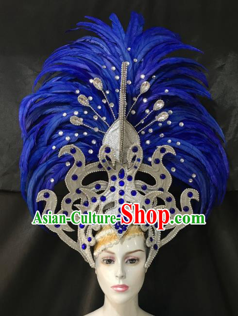 Brazilian Carnival Catwalks Hair Accessories Rio Samba Dance Blue Ostrich Feather Deluxe Headwear for Women