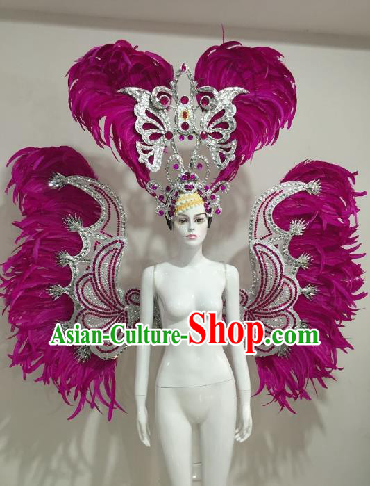 Brazilian Catwalks Samba Dance Props Rio Carnival Rosy Feather Angel Wings and Headwear for Women