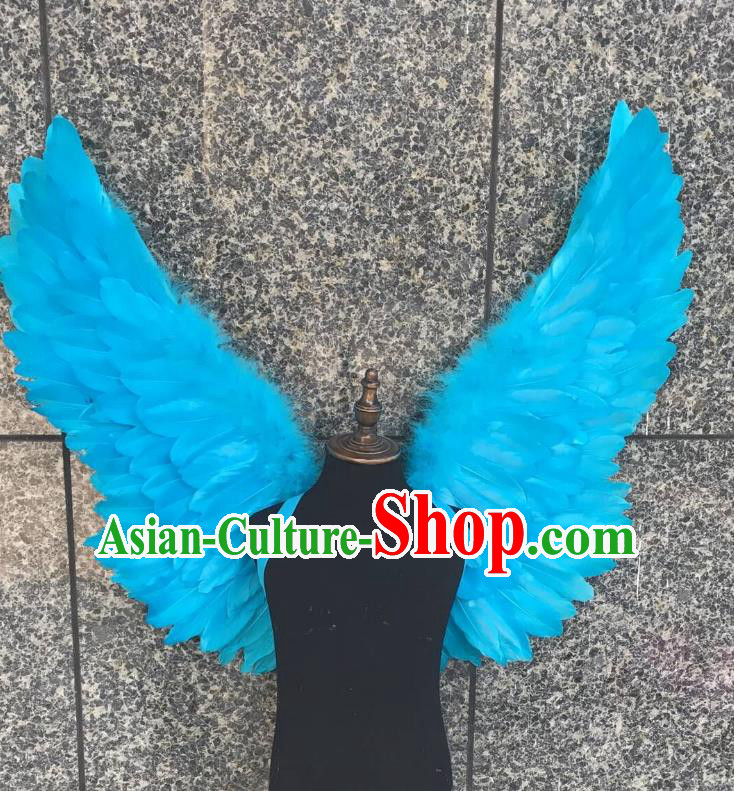 Top Grade Samba Dance Props Brazilian Carnival Catwalks Blue Feather Wings for Kids