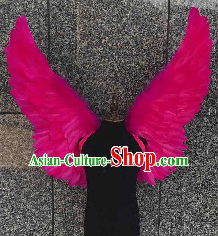Top Grade Samba Dance Props Brazilian Carnival Catwalks Rosy Butterfly Feather Wings for Kids