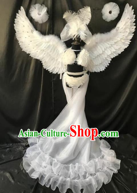 Brazilian Rio Carnival Samba Dance Costumes Halloween Catwalks White Feather Swimsuit and Headwear for Kids