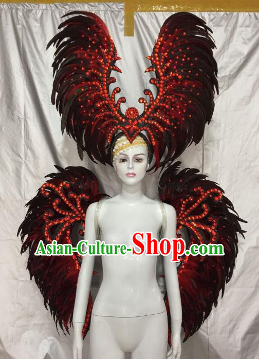 Top Grade Brazilian Carnival Samba Dance Props Catwalks Feather Wings and Headwear for Women