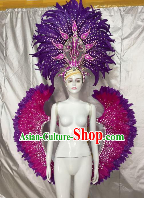 Top Grade Brazilian Carnival Samba Dance Props Catwalks Purple Feather Wings and Headwear for Women