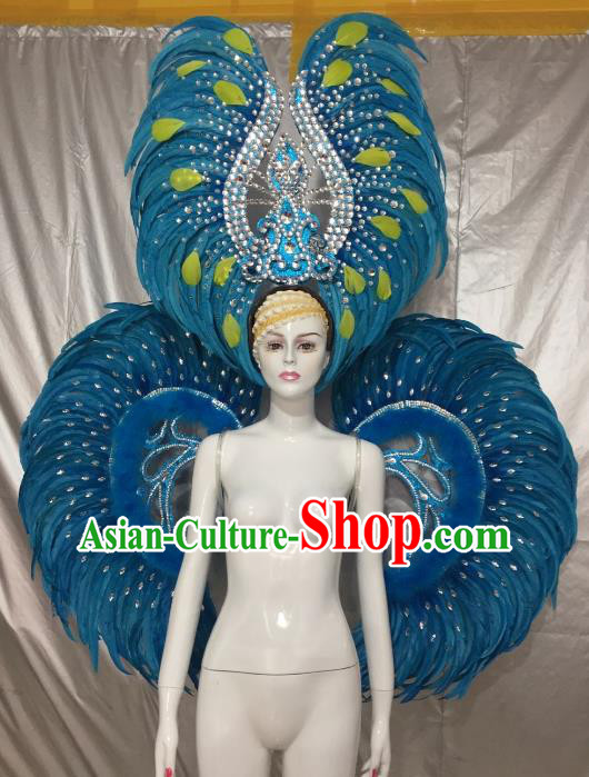 Top Grade Brazilian Carnival Samba Dance Props Catwalks Blue Feather Wings and Headwear for Women