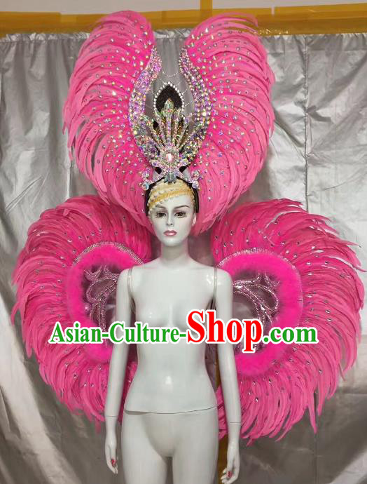 Top Grade Brazilian Carnival Samba Dance Props Catwalks Pink Feather Wings and Headwear for Women