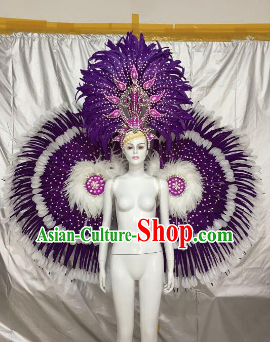 Top Grade Brazilian Carnival Samba Dance Purple Feather Angel Wings Catwalks Headwear for Women