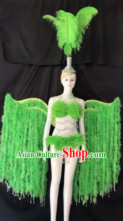 Top Grade Samba Dance Costumes Brazilian Carnival Catwalks Swimsuit and Green Feather Wings for Women