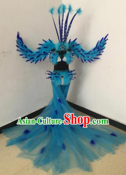 Top Grade Samba Dance Costumes Brazilian Carnival Catwalks Blue Swimsuit and Feather Wings for Kids