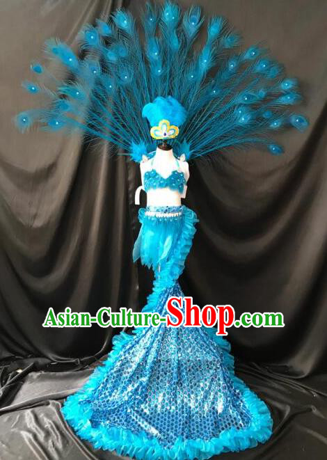 Top Grade Catwalks Costumes Brazilian Carnival Blue Swimsuit and Feather Wings for Kids