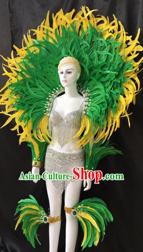 Brazilian Rio Carnival Samba Dance Green Feather Costumes Halloween Catwalks Deluxe Feather Swimsuit and Wings for Women