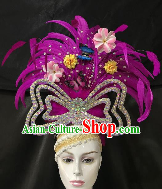 Brazilian Rio De Janeiro Carnival Purple Feather Hair Accessories Samba Dance Catwalks Headwear for Kids