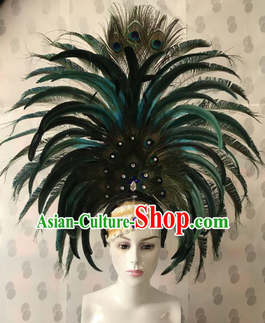 Brazilian Rio De Janeiro Carnival Feather Hair Accessories Samba Victorian Dance Catwalks Headwear for Women