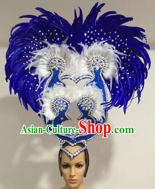 Brazilian Carnival Catwalks Royalblue Feather Peacock Headdress Rio Samba Dance Deluxe Hair Accessories for Women