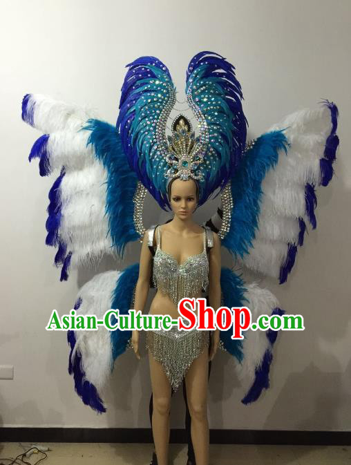 Brazilian Rio Carnival Samba Dance Costumes Catwalks Blue Butterfly Feather Wings Swimsuit and Headwear for Women