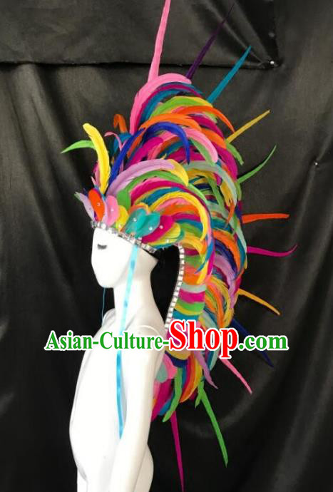 Handmade Samba Dance Hair Accessories Brazilian Rio Carnival Deluxe Roman Colorful Feather Headdress for Kids