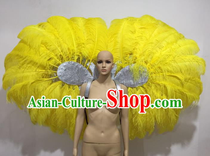 Brazilian Catwalks Props Rio Carnival Samba Dance Miami Yellow Feather Wings for Women