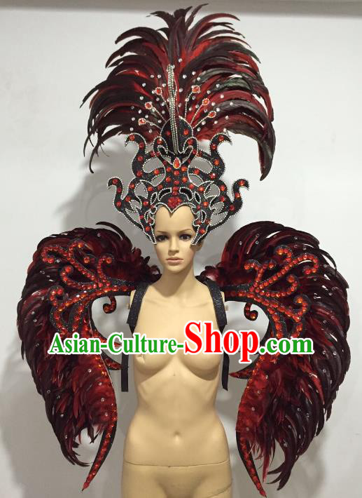 Brazilian Catwalks Props Rio Carnival Samba Dance Miami Black Feather Wings and Headdress for Women