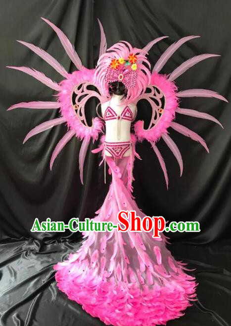Top Grade Catwalks Costumes Brazilian Carnival Samba Dance Pink Feather Swimsuit and Wings for Kids