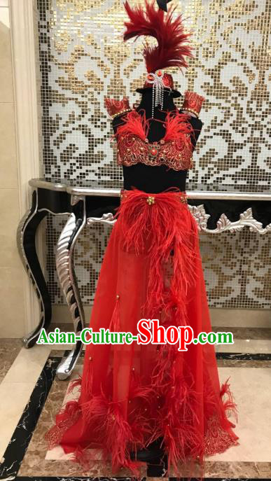 Top Grade Catwalks Costumes Brazilian Carnival Samba Dance Red Feather Swimsuit and Headdress for Kids