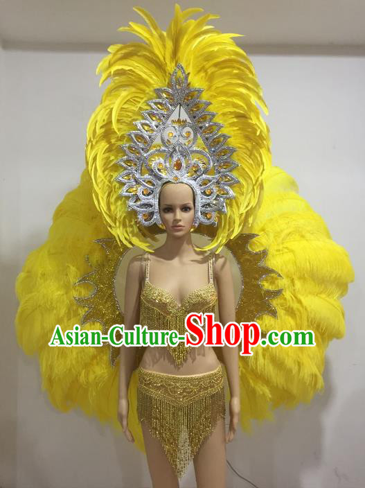 Top Grade Catwalks Costumes Brazilian Carnival Samba Dance Yellow Feather Wings Swimsuit and Headdress for Women