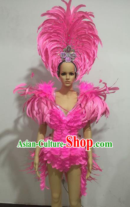 Top Grade Catwalks Costumes Brazilian Carnival Samba Dance Pink Feather Swimsuit and Headdress for Women