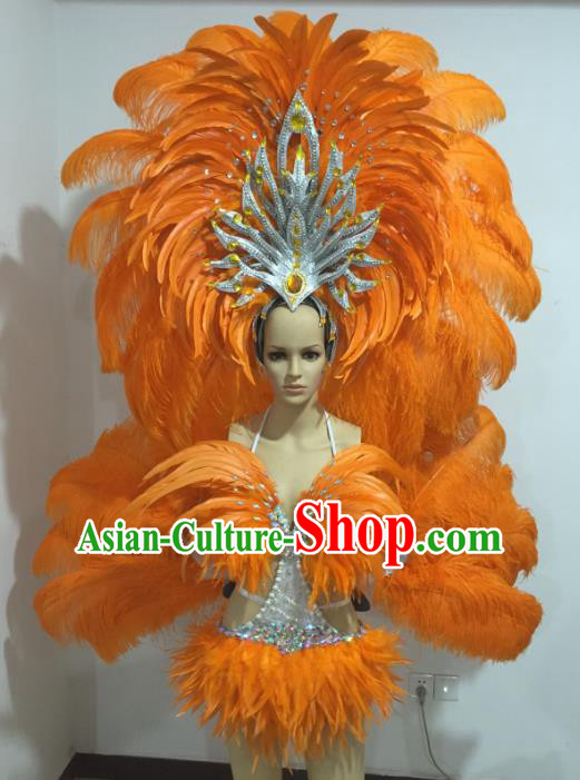 Top Grade Catwalks Costumes Brazilian Carnival Samba Dance Orange Feather Swimsuit and Wings for Women