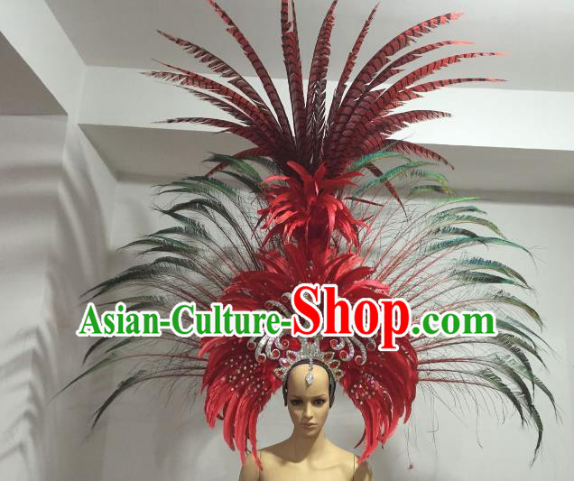 Brazilian Carnival Rio Samba Dance Deluxe Feather Headdress Miami Catwalks Hair Accessories for Men