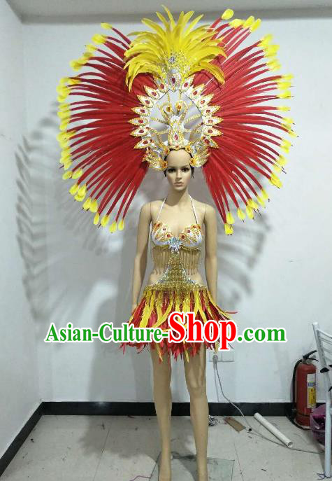 Top Grade Catwalks Costumes Brazilian Carnival Samba Dance Red Feather Swimsuit and Headdress for Women
