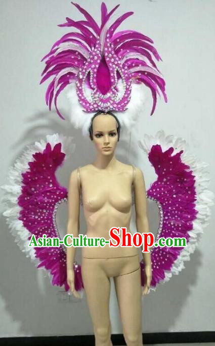 Brazilian Samba Dance Props Rio Carnival Miami Catwalks Rosy Feather Wings and Headdress for Adults