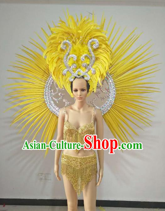 Top Grade Catwalks Costumes Brazilian Carnival Samba Dance Yellow Feather Swimsuit and Wings for Women