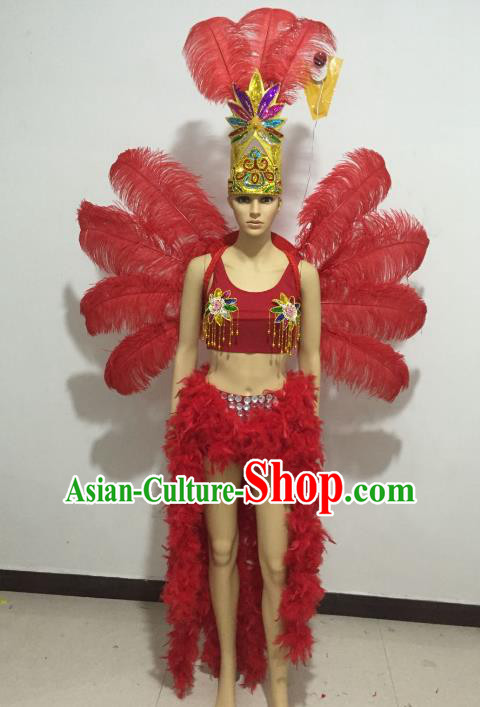 Top Grade Catwalks Costumes Brazilian Carnival Samba Dance Red Feather Swimsuit and Wings for Women