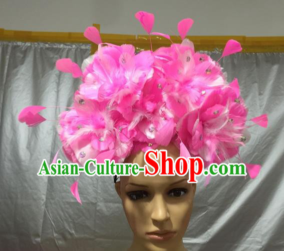 Brazilian Carnival Rio Samba Dance Pink Feather Headdress Miami Catwalks Hair Accessories for Men