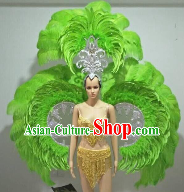 Top Grade Catwalks Costumes and Accessories Brazilian Carnival Samba Dance Green Feather Swimsuit and Wings for Women
