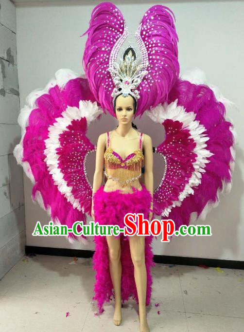 Brazilian Carnival Samba Dance Catwalks Costumes Rosy Feather Swimsuit and Wings for Women