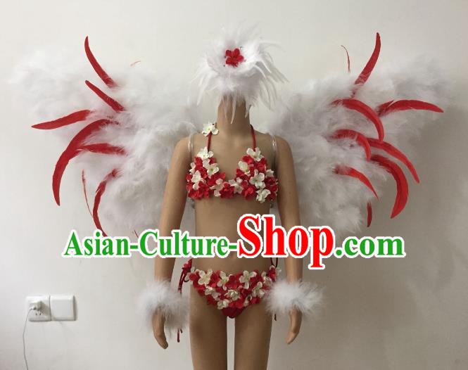 Brazilian Carnival Samba Dance Catwalks Costumes Feather Swimsuit and Wings for Kids