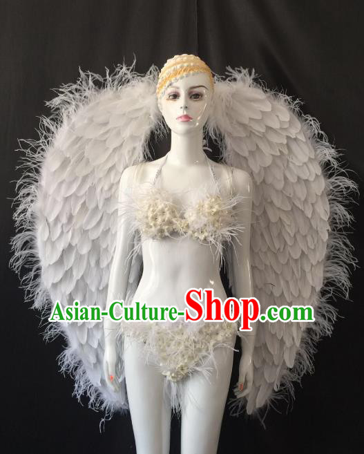 Brazilian Carnival Samba Dance Catwalks Costumes White Feather Swimsuit and Wings for Women